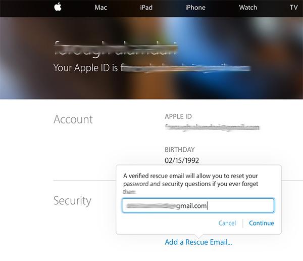 وارد کردن ایمیل نجات اپل ایدی