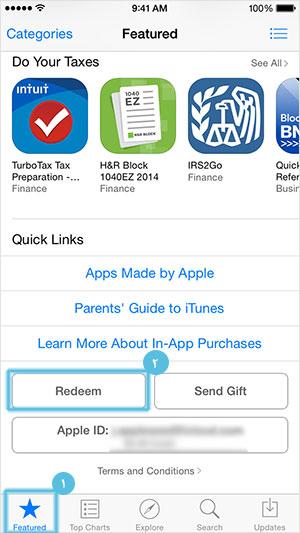 redeem کد در آیفون و ایپد